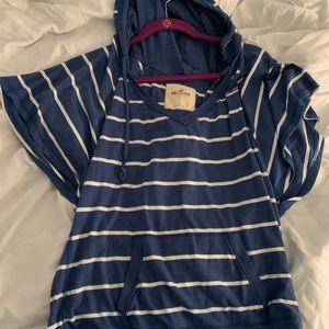 Hooded striped shirt